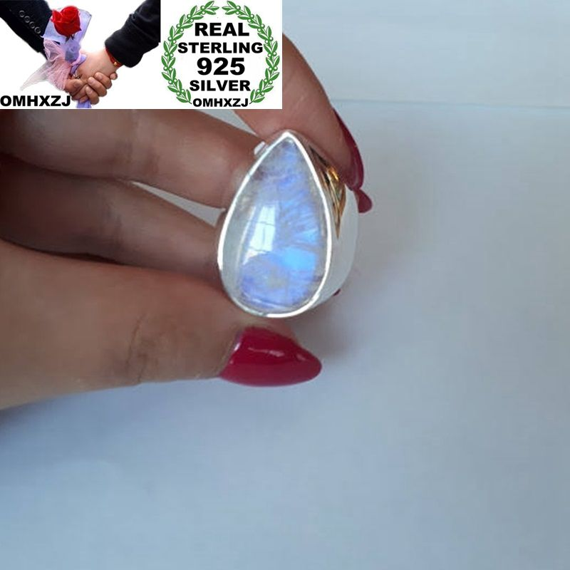 OMHXZJ Wholesale European Fashion Woman Man Party Wedding Gift Silver White Water Drop Moonstone 925 Sterling Silver Ring RR34