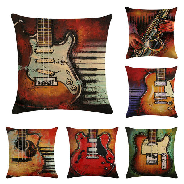 US $2 99 25% OFF|45cm*45cm 66 Abstract oil painting violin pattern  linen/cotton throw pillow covers couch cushion cover home decorative  pillows-in