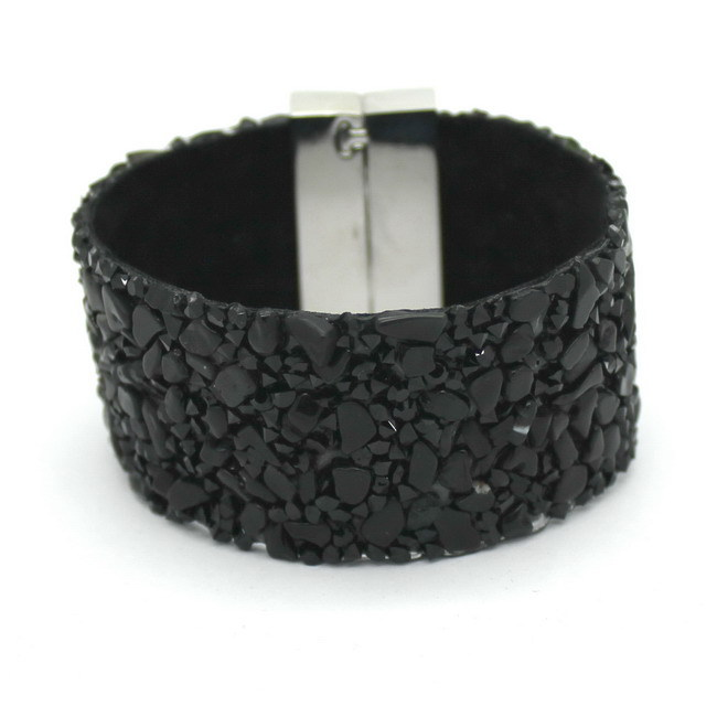 19cm  Fashion Aesthetic Leather Bracelets Jewelry with Stone Trendy high quality Black Stone Manual Charm Bracelets For Women