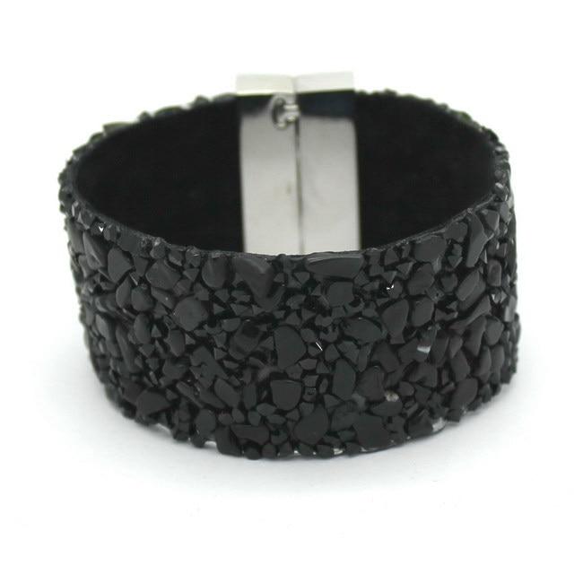 19 cm Mode Ästhetische Lederarmbänder Schmuck mit Stein Trendy hochwertigen Schwarzen Stein Manuelle Charme Armbänder Für Frauen