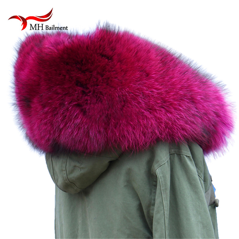 Natural Fur New Winter Raccoon Fur Real Collar & Womens Scarfs Fashion Coat Sweater Scarves Collar Rose red Luxury Neck Cap L17