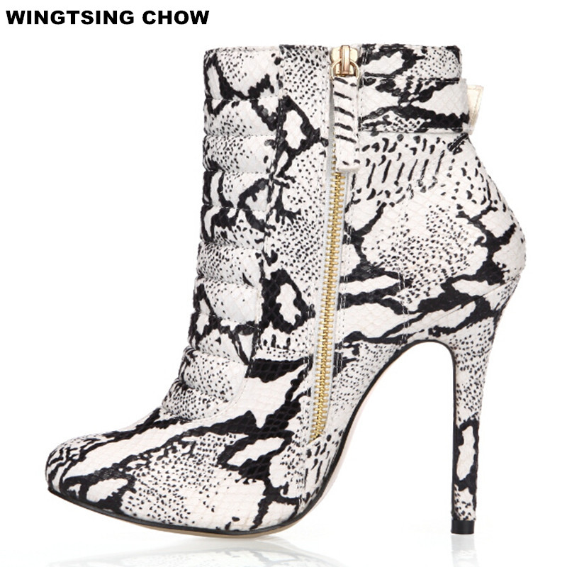Fashion Snake Style Women Ankle Boots Casual Leather Boots Autumn High Heel Women Pumps Big Size 35 43-in Ankle Boots from Shoes    1