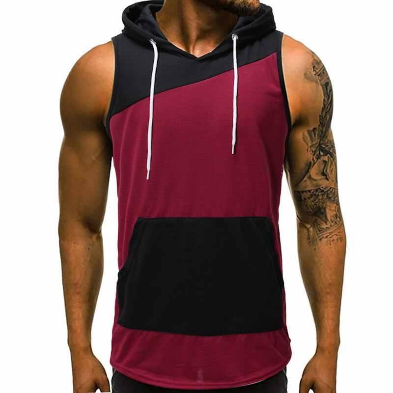 Laamei 2019, мужской спортивный жилет с капюшоном без рукавов в стиле пэчворк, хлопковая толстовка с капюшоном, бодибилдинг, накачанные мышцы фитнес-одежда, мужской топ на бретелях