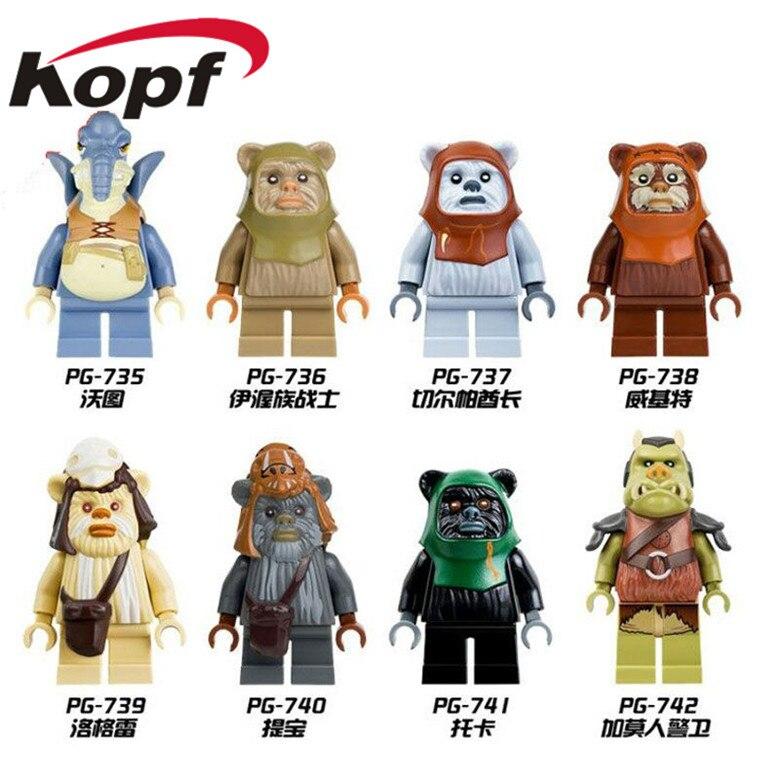 Одной продажи Ewok Teebo калитки Tokkat Paploo битвы при эндоре 8038 Аутентичные Редкие Space Wars Строительные блоки детей подарок игрушки PG8067