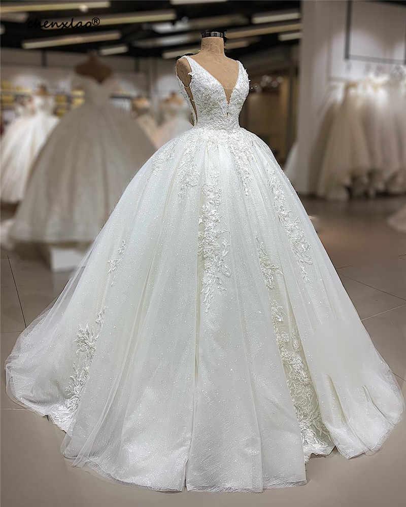 Vestido דה noiva לבן חתונה שמלות צווארון V שרוולים נצנצים תחרה אפליקציות חתונת שמלות כלה שמלות Ro להיות דה mariage