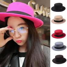 3f3e4e795046e New Fashion Wool Boater Flat Top Hat For Women Felt Wide Brim Fedora Hat( China