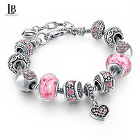 Leo Bon Silver Tone Chain Pink Crystal Love Heart Bead Glass Charm Bracelet With Extender