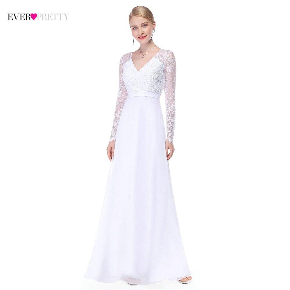 Illusion Long Sleeve Wedding Dresses Long Lace A Line V Neck Simple China Bride Dress 2019