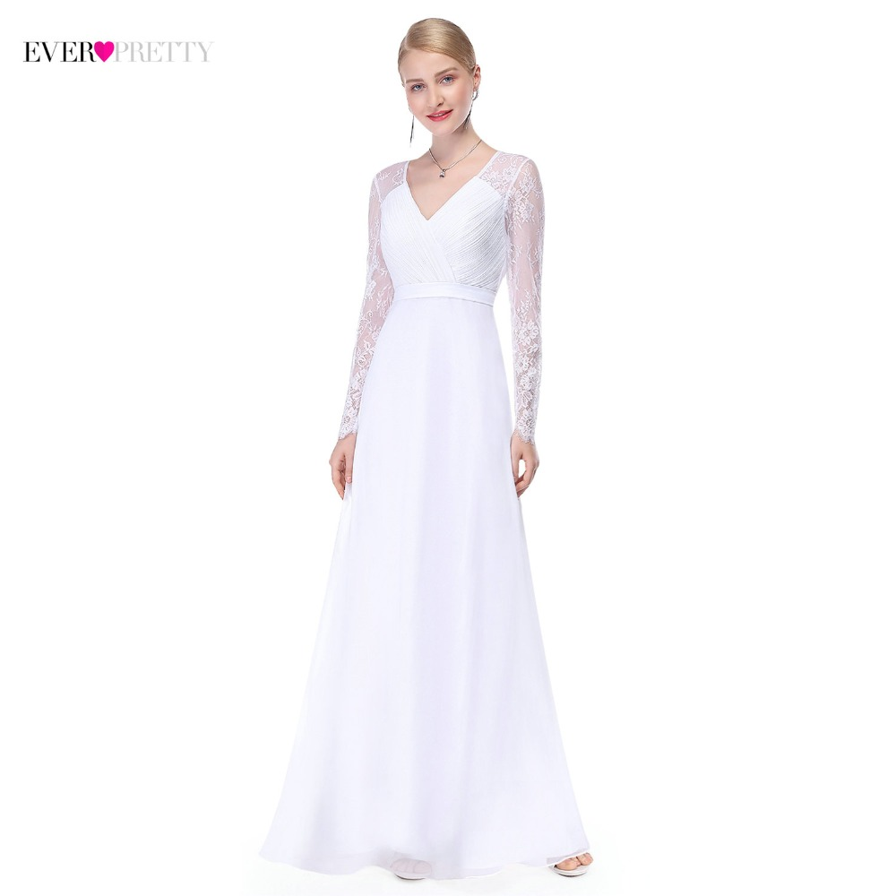 Simple Elegant Long Sleeve V Neck A Line Lace Top Satin: Illusion Long Sleeve Wedding Dresses Long Lace A Line V