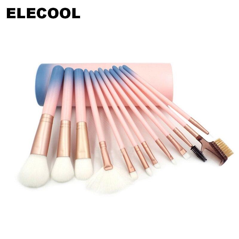 цены на ELECCOL 12PCS Makeup Brushes Set Foundation Cylinder Gradient Pink Powder Brush Kit Cosmetic Beauty Tools Pinceis De Maquiagen в интернет-магазинах