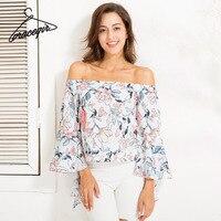 Gracegirl 2017 Summer Women Tops Series Autumn Fashion Floral Print Butterfly Sleeve Off Shoulder Blouse Shirts