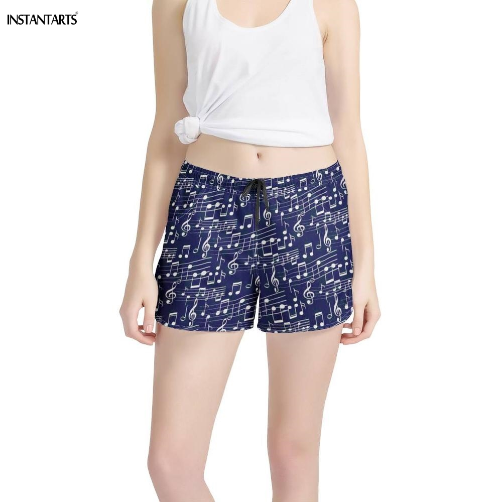 INSTANTARTS Sport Yoga Shorts Women Navy Blue Music Notes Printed Sports Wear for Womens Workout Gym Fitness Shorts Yoga Ladies image