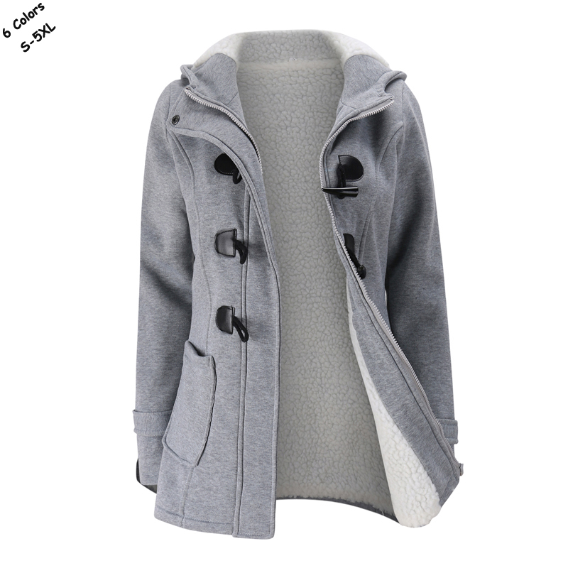 Fashion 2018 New lady Winter hooded horn button   trench   coat casual womens thick outerwear Plus size S-5XL warm womens slim tops