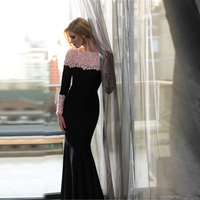VE1020 sexy party dress pink embroidery lace long sleeve dress women bodycon elegant dress big size evening black dress