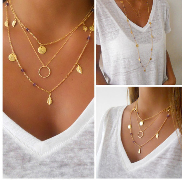 Bohemian beads gold silver collar necklace Layered Chokers Necklaces women  leaf tassel pendant jewelry choker necklace e8ffe0f862825