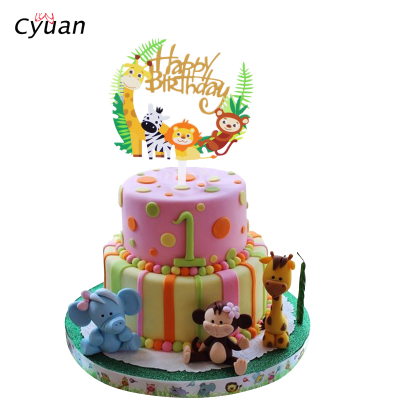 Pleasing Cyuan Safari Birthday Party Animal Cake Toppers Happy Birthday Funny Birthday Cards Online Alyptdamsfinfo