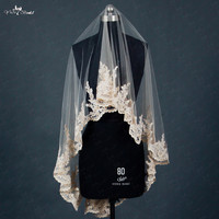 RSV4 Lace Edged Short Colored Bridal Veils
