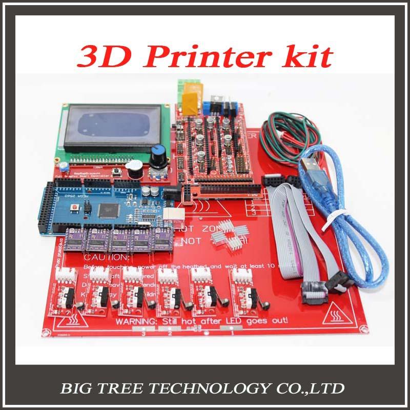 Prix pour Reprap Rampes 1.4 + Mega 2560 + Heatbed mk2b + 12864 LCD contrôleur + DRV8825 + Mécanique Endstop + Câbles Pour 3D Imprimante bricolage kit