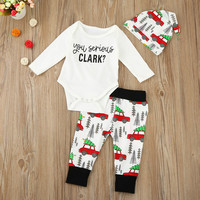 2016 Autumn Style Baby Boy Girl Clothes Christmas Car Romper Pants Hat 3pcs Set Suit Baby