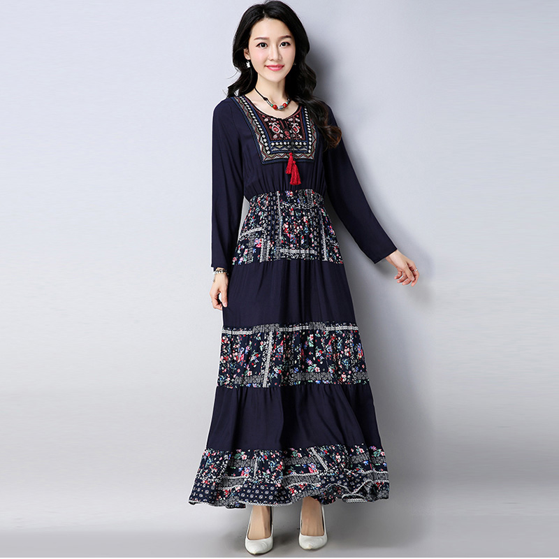 c5d0b254607 Embroidery Floral Dress 2018 New Women National Wind Patchwork Dresses Plus  Size A Linen Dresses Female Cotton And Linen Dress -in Dresses from Women s  ...