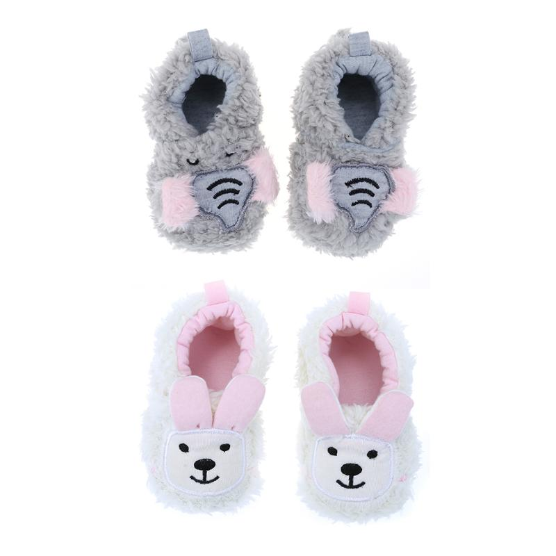 Baby Shoes Coral Cute Animal Fleece Anti-slip Casual First Walker Shoes for Girls Children Newborn Autumn Winter Footwear
