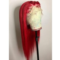 Red Lace Front Human Hair Wigs Deep Part 13x6 Lace Front Wig With Baby Hair Straight Remy Hair Aimoonsa Transparent Lace