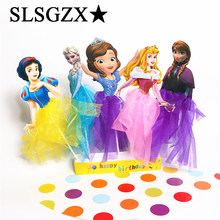 Anna Elsa Aurora Princess Birthday Decoration Cupcake/Cake Topper Picks With Dress Snow White Cake Accessories Party Supplies(China)