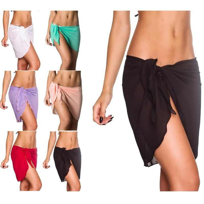 2019 Zomer Sexy Vrouwen Cover Up Solid Bikini Pareo Chiffon Wrap Rok Sarong Sjaal Beachwear Beachwear Badpak Badpak