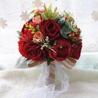 Silk Holding Flower Artificial Flowers Rose Bouquet For Wedding Bride Bridesmaid Decoration High end Simulation Fake Flower