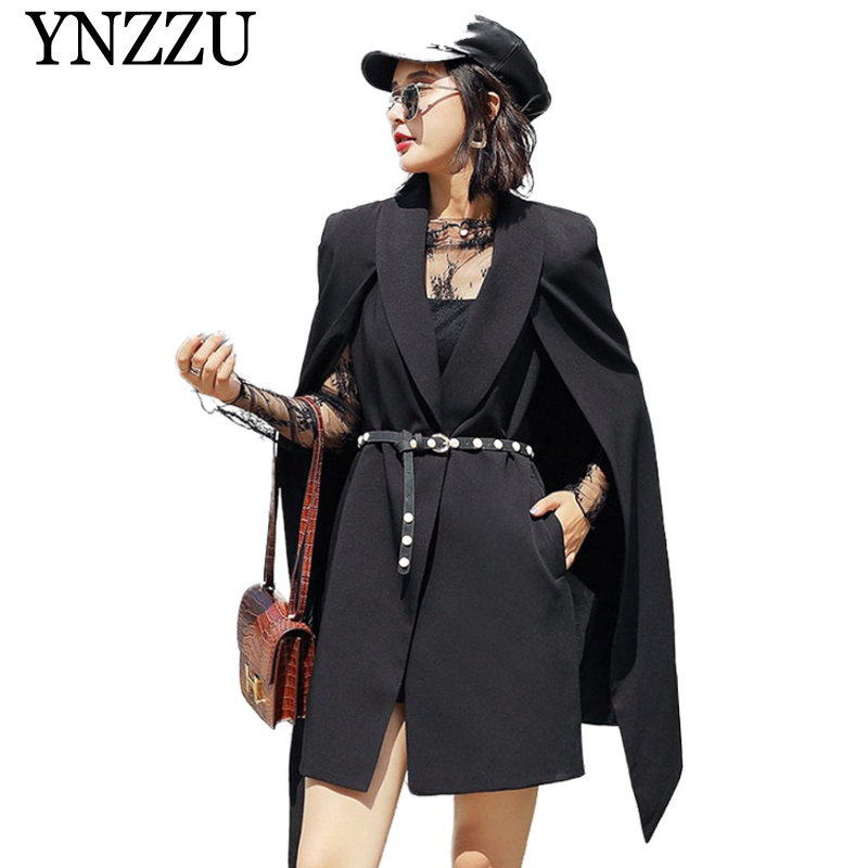 YNZZU Vintage Solid Office lady Cloak Blazer Whit belt elegant Autumn women jacket 2019 New fashion long loose female suit YO854