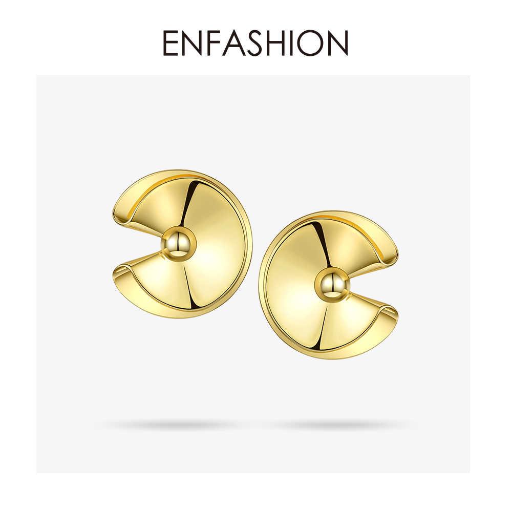 Enfashion Drape Stud Earrings For Women Gifts Trendy Gold Color Brass Cute Circle Earings Fashion Jewelry Oorbellen 2019 EF1074