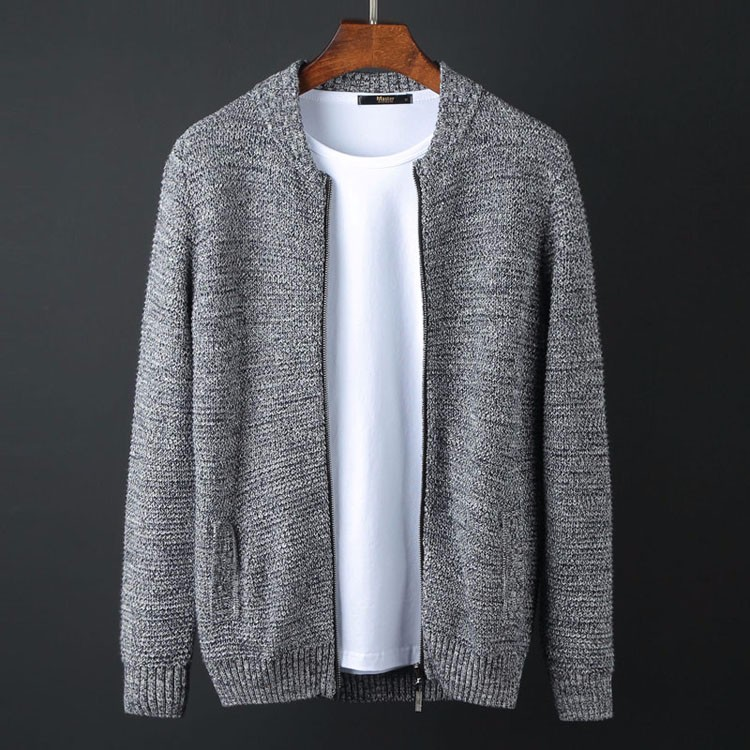 TOP Plus Size Autumn Brand Men's Clothing 100% Cotton Loose Sweater Male Cardigan Stand Collar Men Sweater Male M-6XL