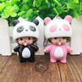 2017 Cute Cartoon Doll Keychain Panda Monchichi Girl Car action figure porte clef Woman charm Accessories pendant for handbag
