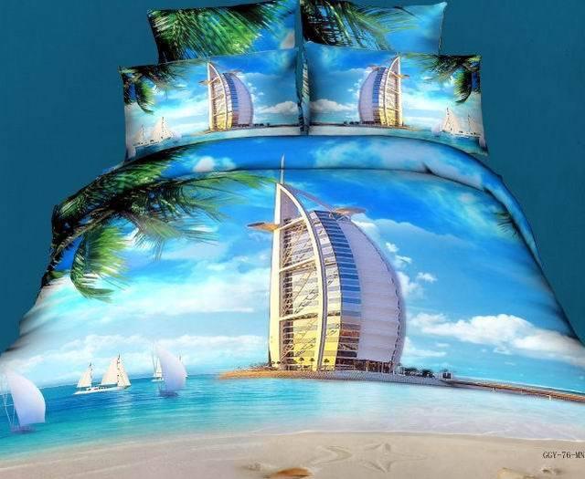 couvre lit dubai 3D Bleu mer ensemble de literie ensembles queen couvre lit housse  couvre lit dubai
