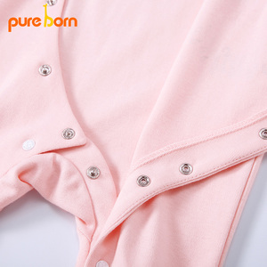 Image 5 - Pureborn yenidoğan bebek Footies ayaklı tulum bebek erkek giysileri pamuk bebek pijama uzun kollu bahar sonbahar kıyafeti