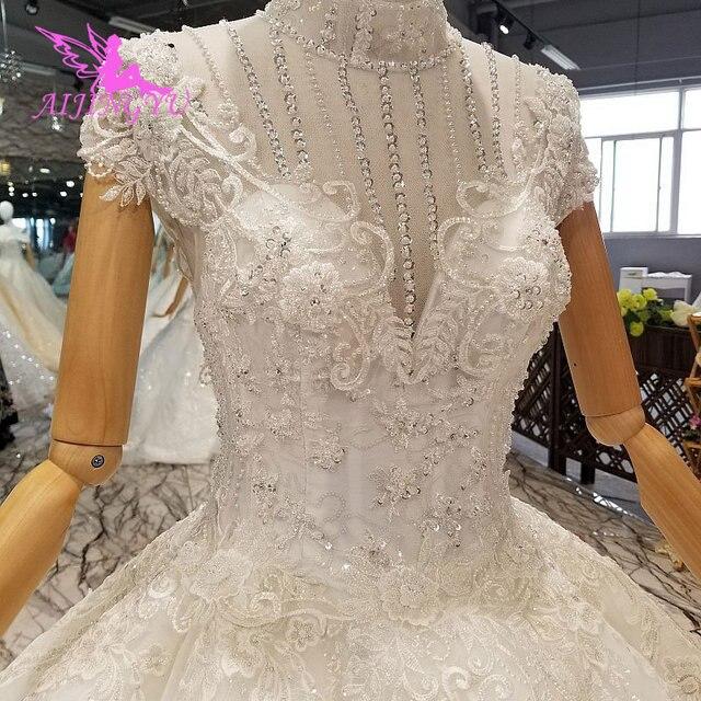 AIJINGYU נישואי שמלת באינטרנט גבוהה רחוב שמלות ללבוש מצרים אירוסין לבן כלה תורכי מקרית שמלות חתונה מלכותית שמלה