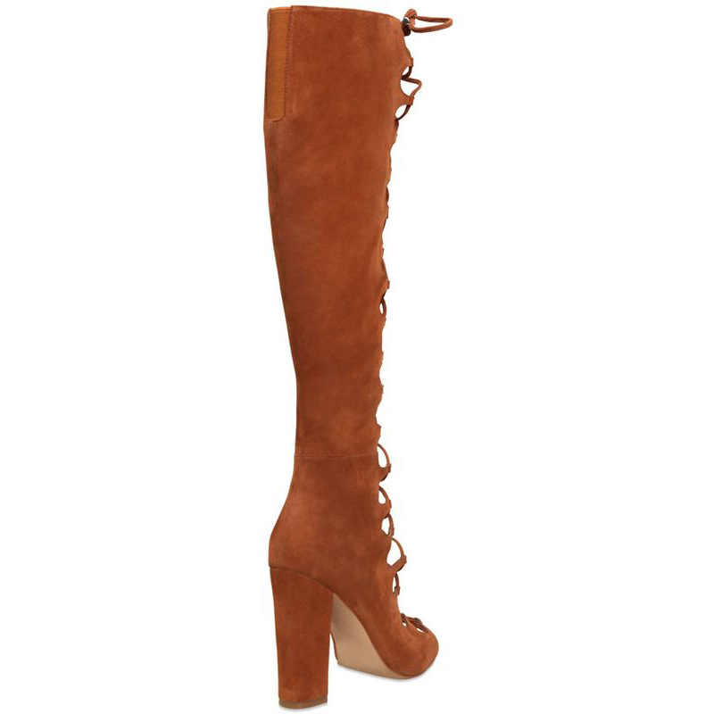 ENMAYER Fashion Summer Boots Knee High Boots Women Brown Color Sexy Lace up Peep Toe Boots Genuine Leather Shoes for Women Pumps in Knee High Boots from Shoes