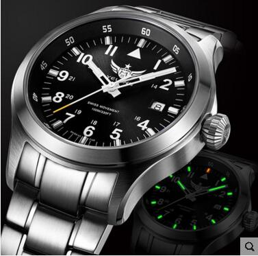 Yelang pilot watch Men Quartz Watch Lithium battery Tritium T100 Waterproof 100m Ronda Movement Sapphire Date