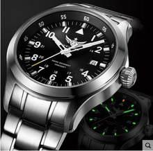Yelang los hombres de reloj de cuarzo piloto tritio T100 de litio batteryWaterproof 100m Ronda movimiento zafiro reloj militar