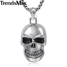 Trendsmax кулон Цепочки и ожерелья мужские 316L Нержавеющая сталь готический панк черепа хип-хоп ювелирные изделия HP154