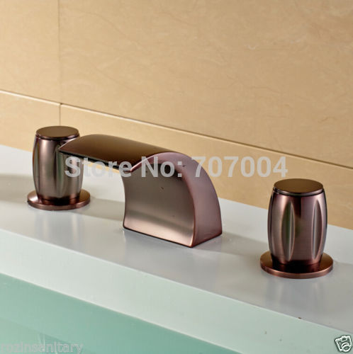 Oil Rubbed Bronze Widespread Deck Mounted Waterfall Spout Vessel Sink Faucet