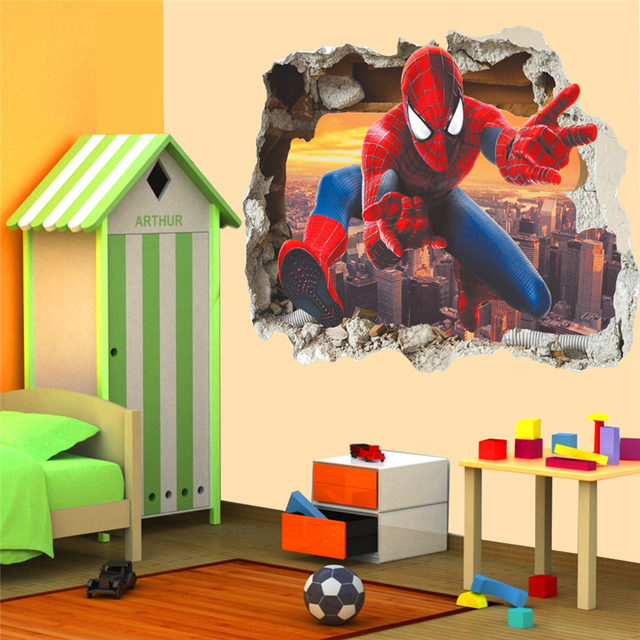 3d effect hero spiderman through wall stickers for kids room wall ...
