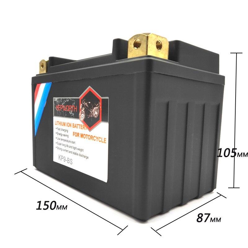 KP9-BS haute puissance 12V 9Ah moto LiFePO4 batterie saut démarreur Lithium ion batterie CCA 350A Batteries 9000mAh 12V BMS
