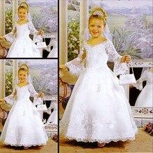 Princess Appliqued Lace Flower Girl Dress Ankle-Length Long Sleeves Children Wedding Party Dress V-Neck Satin Children Ball Gown