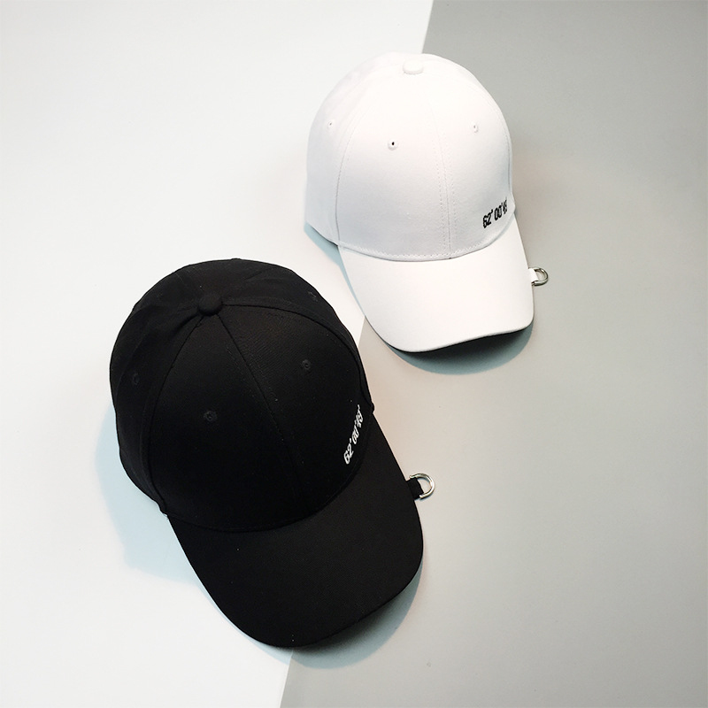 HT1037 Wholesale Dad Hats New Korea Style Men Baseball Caps Solid Black White Pink Snapback Cap Stylish Rings Hip Hop Caps Women 2016 new new embroidered hold onto your friends casquette polos baseball cap strapback black white pink for men women cap