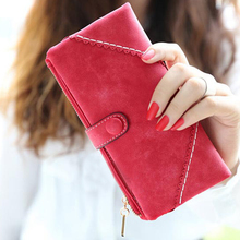 Wholesale 5* ( Long Women Wallet Messenger bags Handbag Retro Dull Polish Purse Multifunctional-red