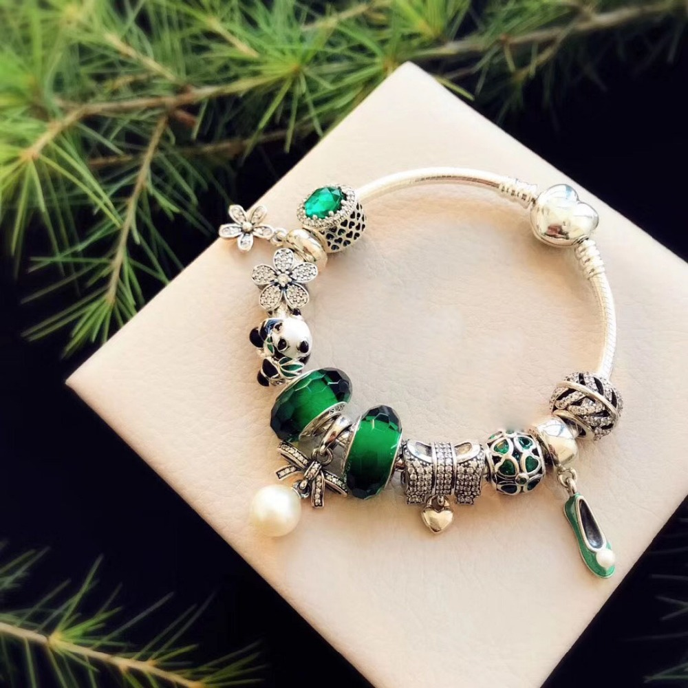 Pbs 100% 925 Sterling Silver Original Copy High Quality 1:1 2019 New Green Beads Panda Star Floret Bracelet Free Shipping Jewelry & Accessories