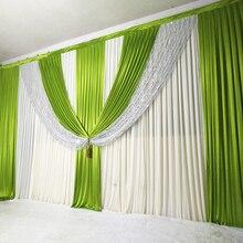 3m x 6m New Arrival ślub kurtyna tło zielony Swag zasłony etap dekoracje ślubne strona zasłony na bankiet zdarzeń