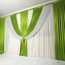 3m x 6m חדש הגעה חתונה וילון רקע ירוק Swag וילונות שלב חתונה וילונות קישוט לאירוע אירועים