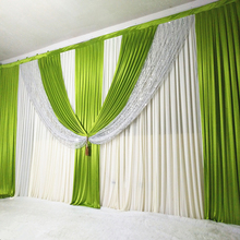 Curtain Wedding-Backdrop Drapes Swag Stage Event Green Party for Banquet 3mx6m New-Arrival